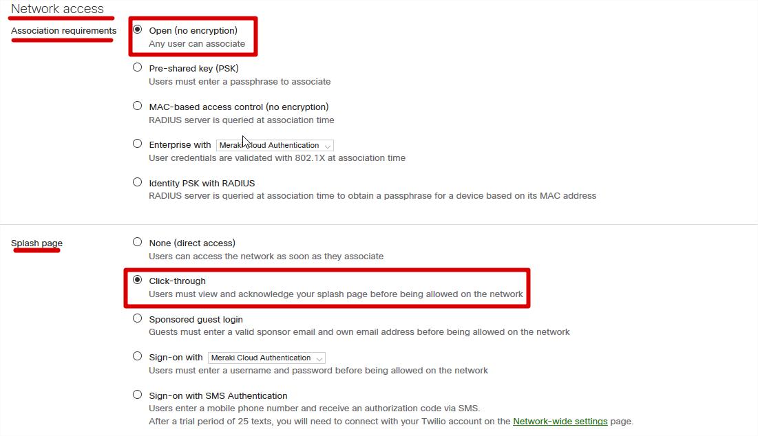 screenshot -Setup Network Access Requirements
